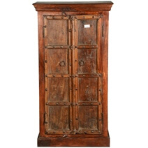 Cankton Rustic Reclaimed Wood Double Door Tall Storage Cabinet