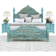 Victorian Winter White Mango Wood Platform Bed Frame w High Headboard