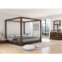 Hampshire Solid Wood Rustic Canopy Bed 7pc Bedroom Furniture Set
