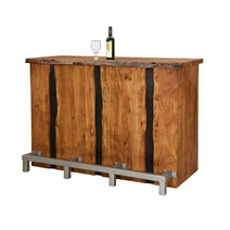 Modern Pioneer Acacia Wood Wine Bar Entertainment Cabinet