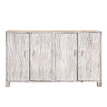 Blandinsville Contemporary White Mango Wood Large Sideboard Cabinet