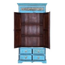 Turquoise Trail Brass Inlay 2 Door 4 Drawer Solid Wood Tall Cabinet