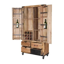 Savannah Handcrafted Solid Wood 2 Door Industrial Wine Bar Cabinet