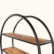 Circle Shape Mango Wood Industrial Open Bookcase
