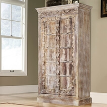 Antique White Rustic Solid Reclaimed Wood 2 Door Tall Armoire Cabinet