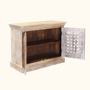 Aullville Handcrafted Flower Lattice Rustic Mango Wood Accent Cabinet