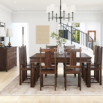 Richmond Handcrafted Rustic Solid Wood 10 Piece Dining Room Set