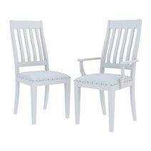 Ennis Solid White Mahogany Wood School House Back Dining Chair
