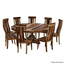 Bedford Handcrafted X Pedestal Round Dining Table With 8 Chairs Set