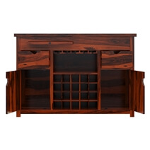 Missouri Solid Wood 2 Drawer Wine Bar Cabinet With Glass Stem Rack