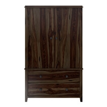 Bozeman Solid Wood Rustic Wardrobe Armoire With Drawers and Shelves