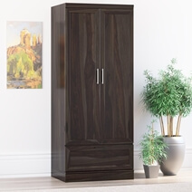 Anchorage Rustic Solid Wood Wardrobe Armoire With Drawer and Shelves