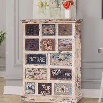 Washta Shabby Chic Reclaimed Wood 13 Drawer Vertical Dresser