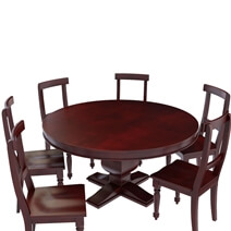 Arenzville Solid Mahogany Wood 7 Piece Dining Table and Chair Set