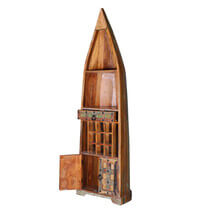 Ariton Reclaimed Wood 1 Drawer Tall Canoe Wine Rack