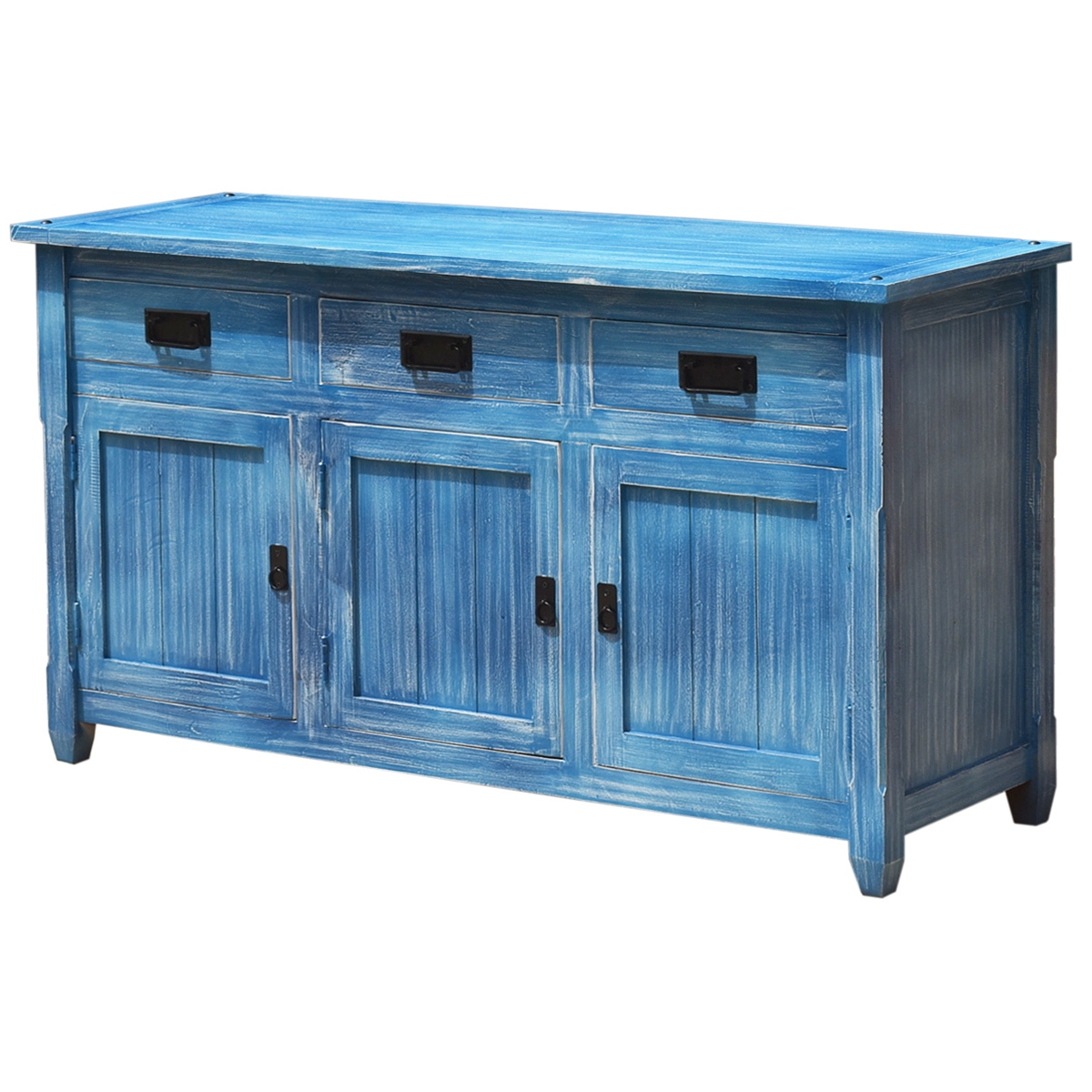 Appalachian Distressed Sky Blue Solid Wood 3 Drawer Sideboard