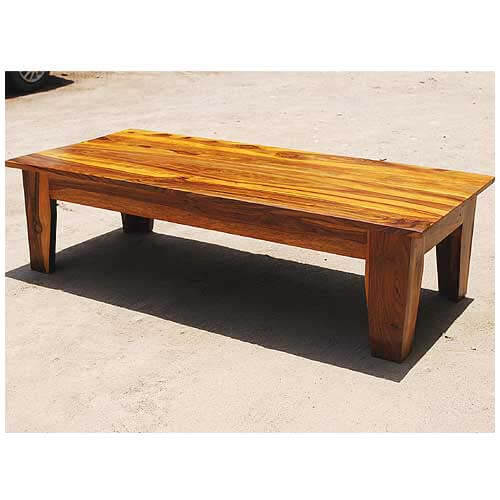 Large rustic coffee table low height traditional for Height of cocktail tables