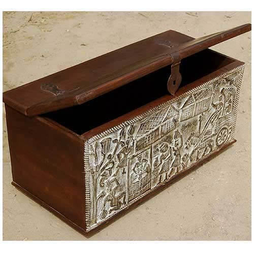 Hand Carved Mango Wood Storage Trunk Coffee Table
