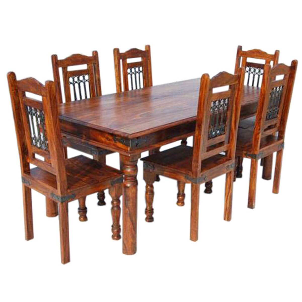 philadelphia dining room table and chair set w wrought iron grill work. Black Bedroom Furniture Sets. Home Design Ideas