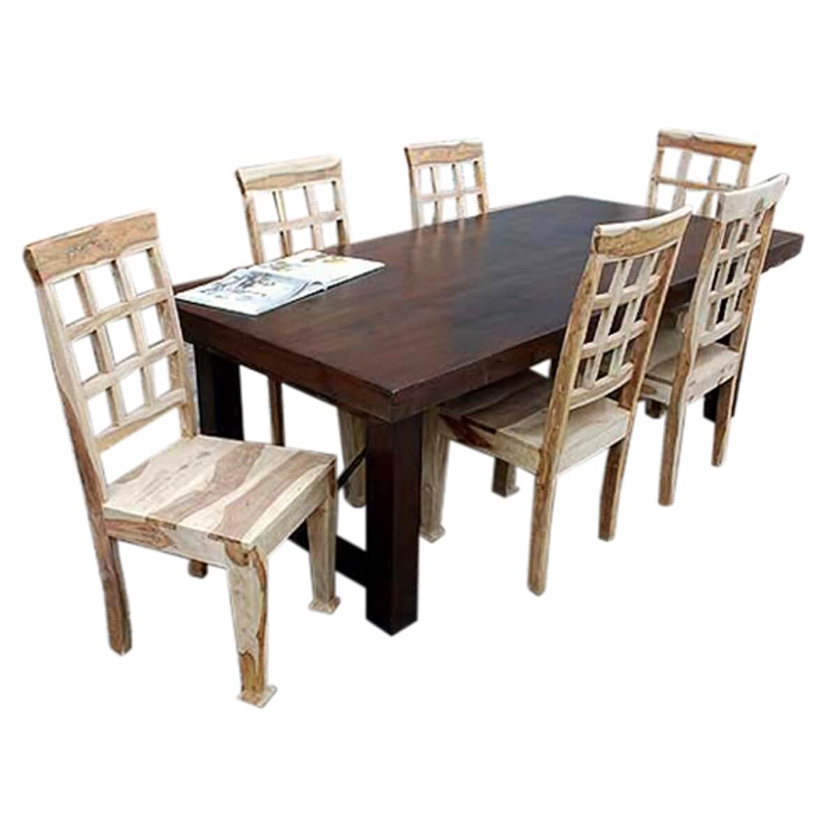 Santa fe solid wood rustic dining table and chair set for for Rustic dining table and chairs