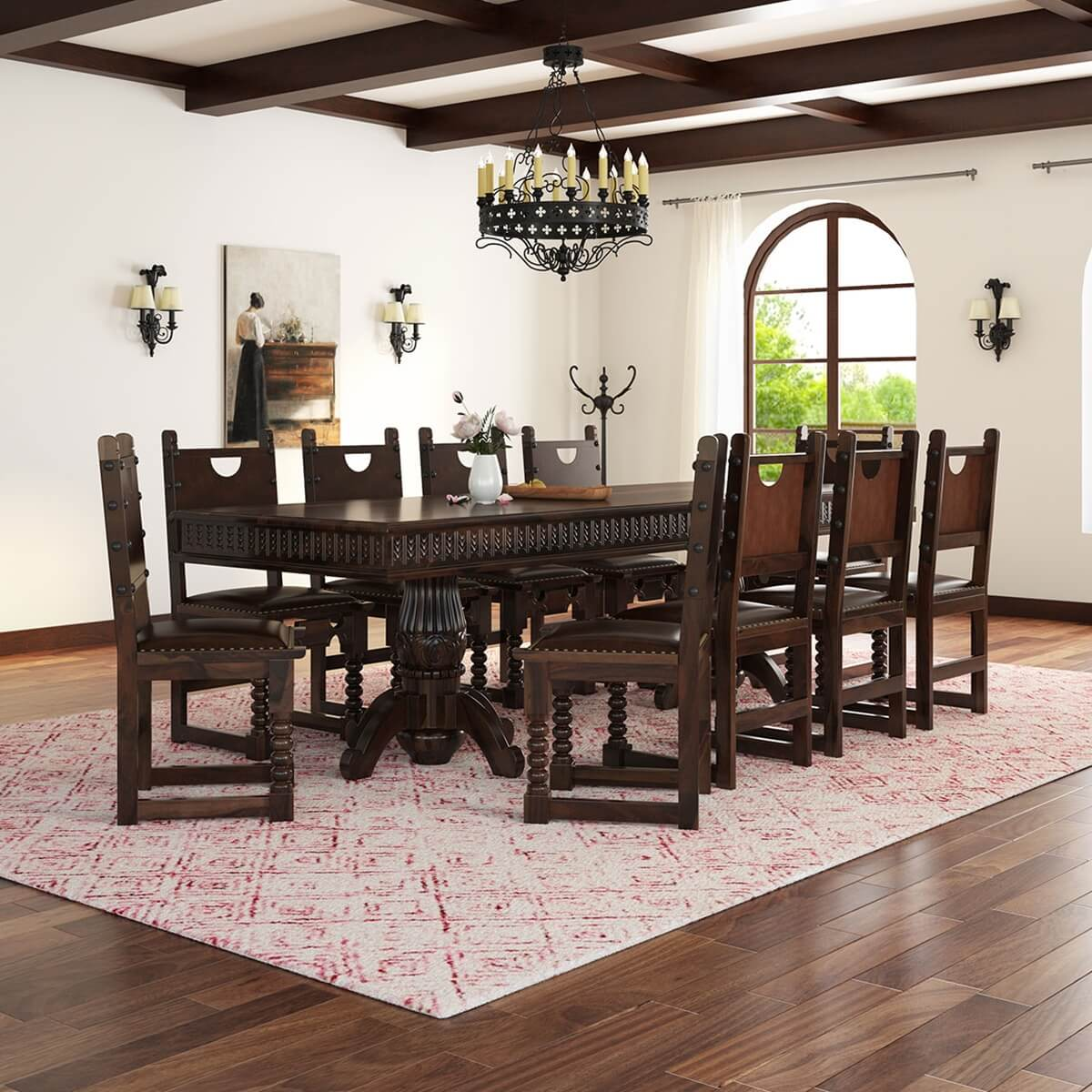 Nottingham solid wood large rustic dining room table chair set for Oak dining room table chairs