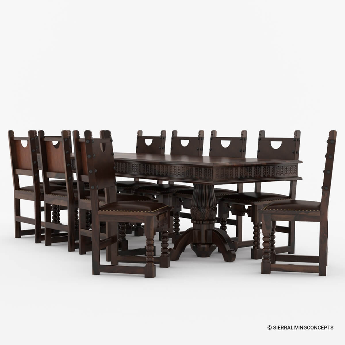 Nottingham solid wood large rustic dining room table chair set for Solid wood dining room table and chairs