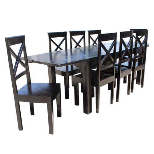 Oklahoma Ebony 9pc Dining Table Chair Set w Extension