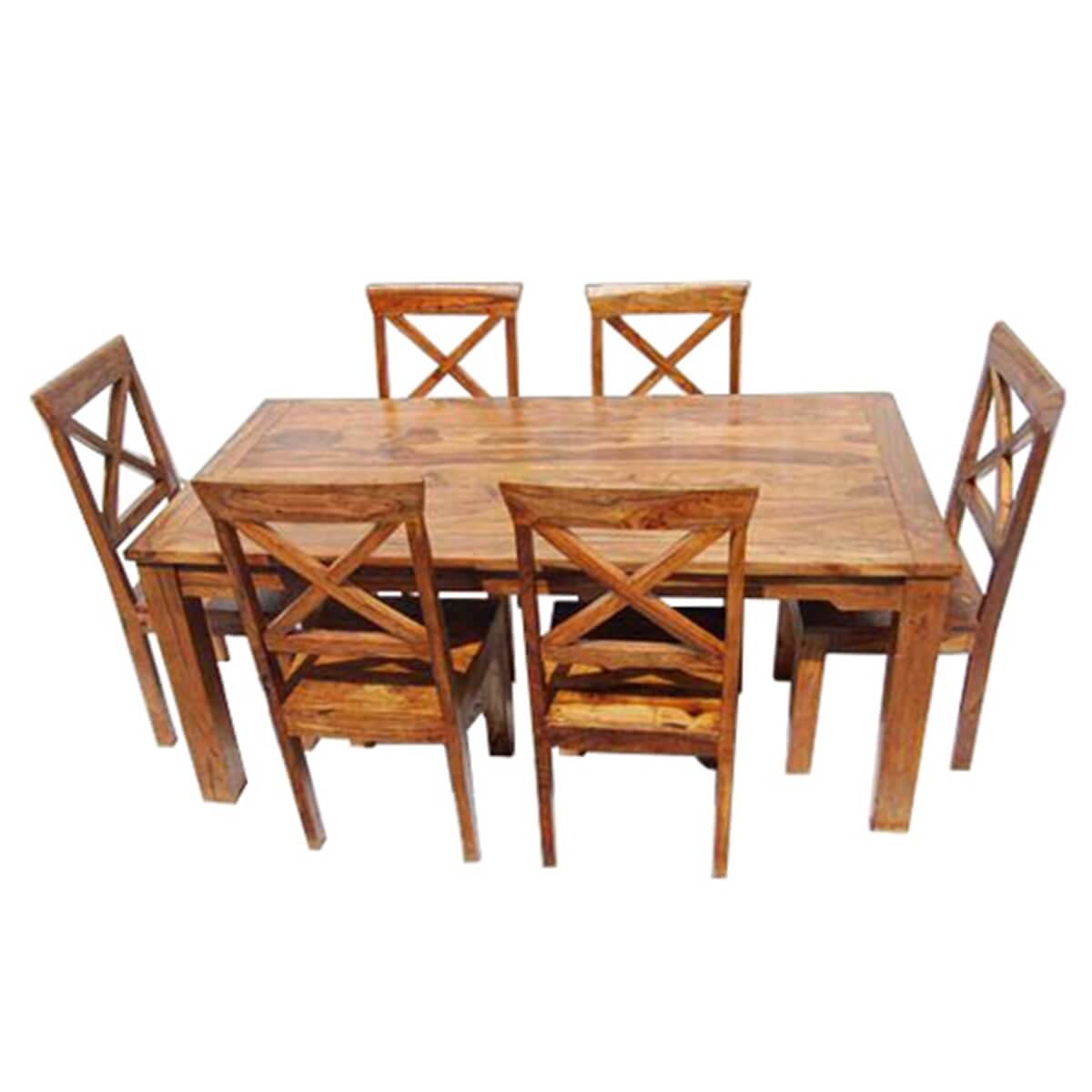Solid Wood Dining Table Sets: Rustic Solid Wood Oklahoma Dining Table & Chair Set