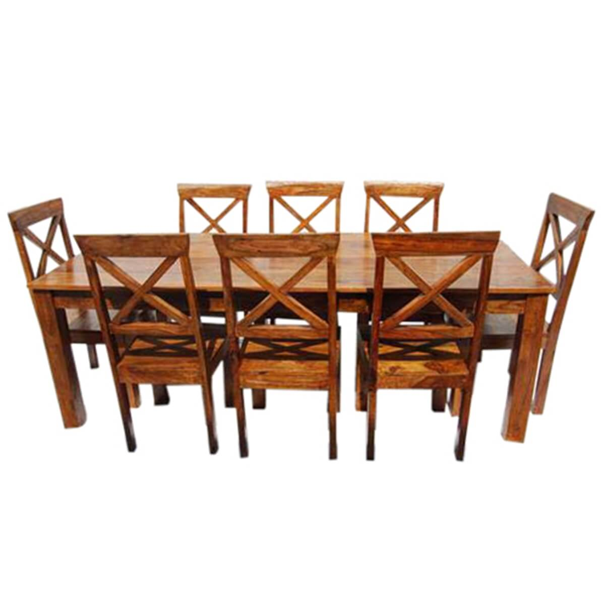 Large rustic oklahoma solid wood dining table chair set for Solid wood dining table sets