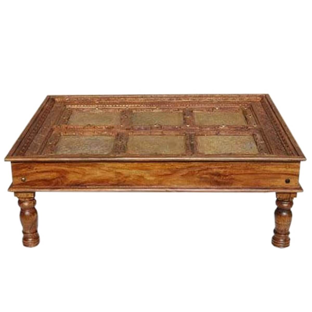Rare Royal Brass Embossed Mango Wood Coffee Table