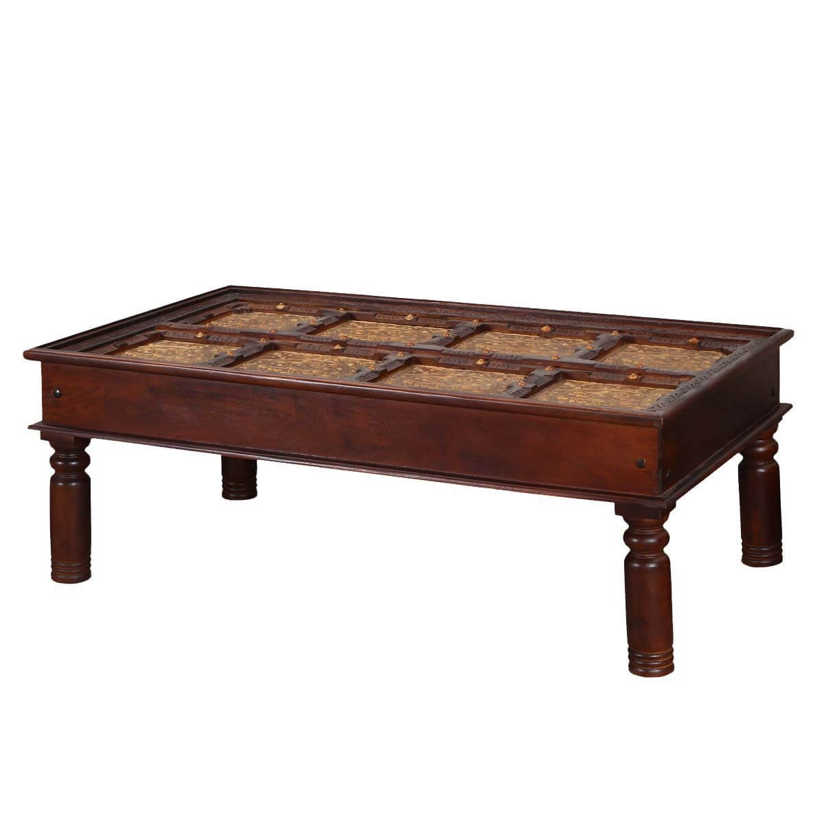 Royal brass accent wood cocktail large coffee table for Large coffee table