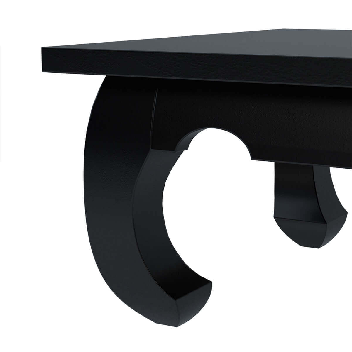 Black Solid Wood Coffee Table: Ming Asian Black Solid Wood Square Opium Coffee Table