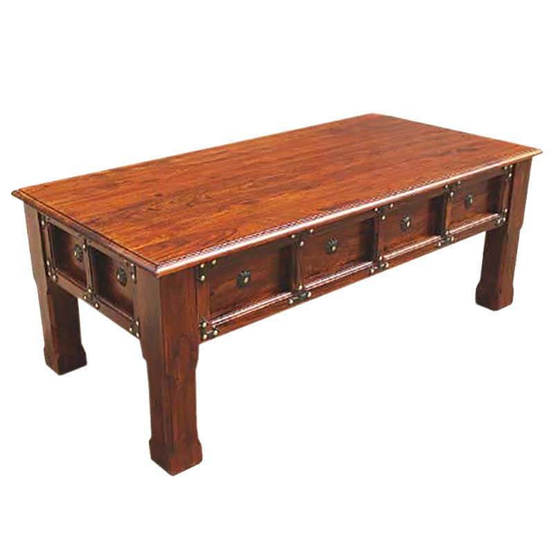 Renton Rustic Handcrafted Solid Wood Coffee Table W Iron