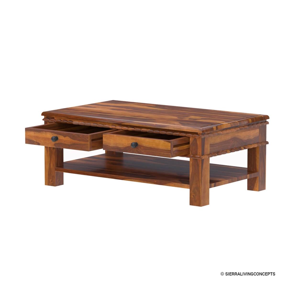 Everett Coffee Table: Everett Stylish 100% Handcrafted Solid Wood 2-Tier Coffee