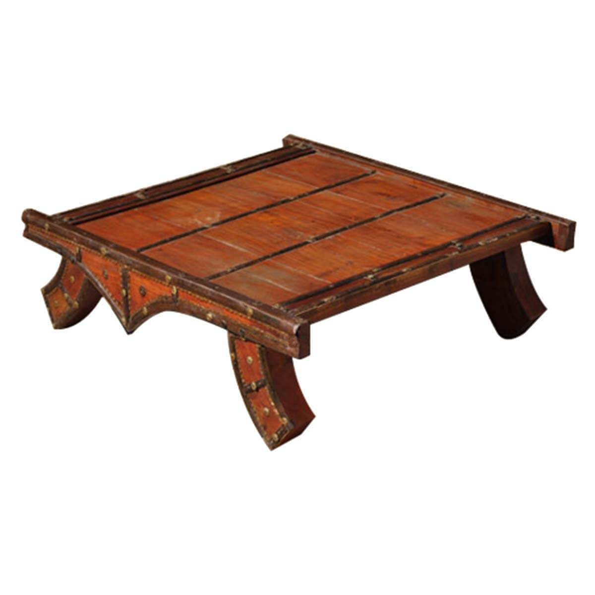 Pagoda solid wood brass heritage coffee table for Solid wood coffee table