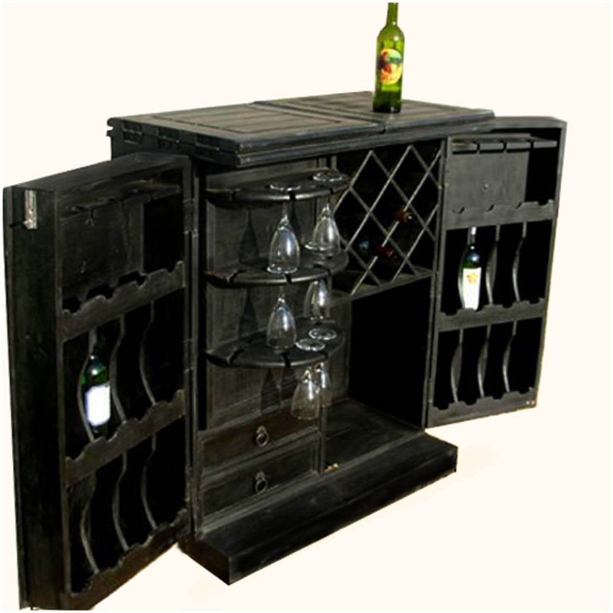 Wood Wine Bar ~ Hiram black solid wood expandable wine bar cabinet