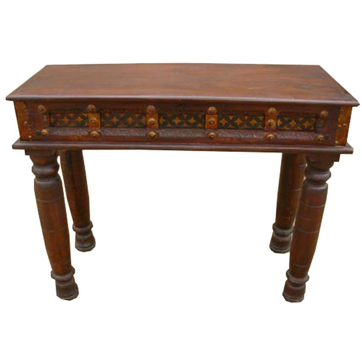 Foyer Entry Table : Carved wood brass acent entry hall foyer console table
