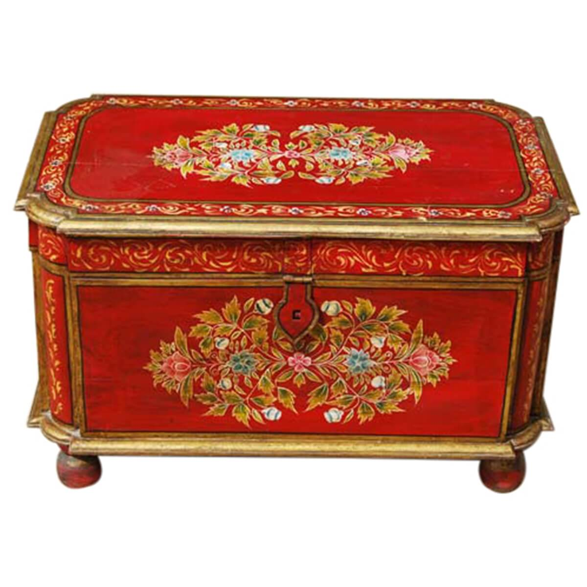 Hand painted mango wood storage trunk coffee table rare hand painted mango wood storage trunk coffee table geotapseo Gallery