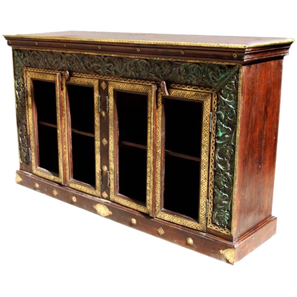 Heritage Carved Vineland Brass Inlaid Sideboard Buffet