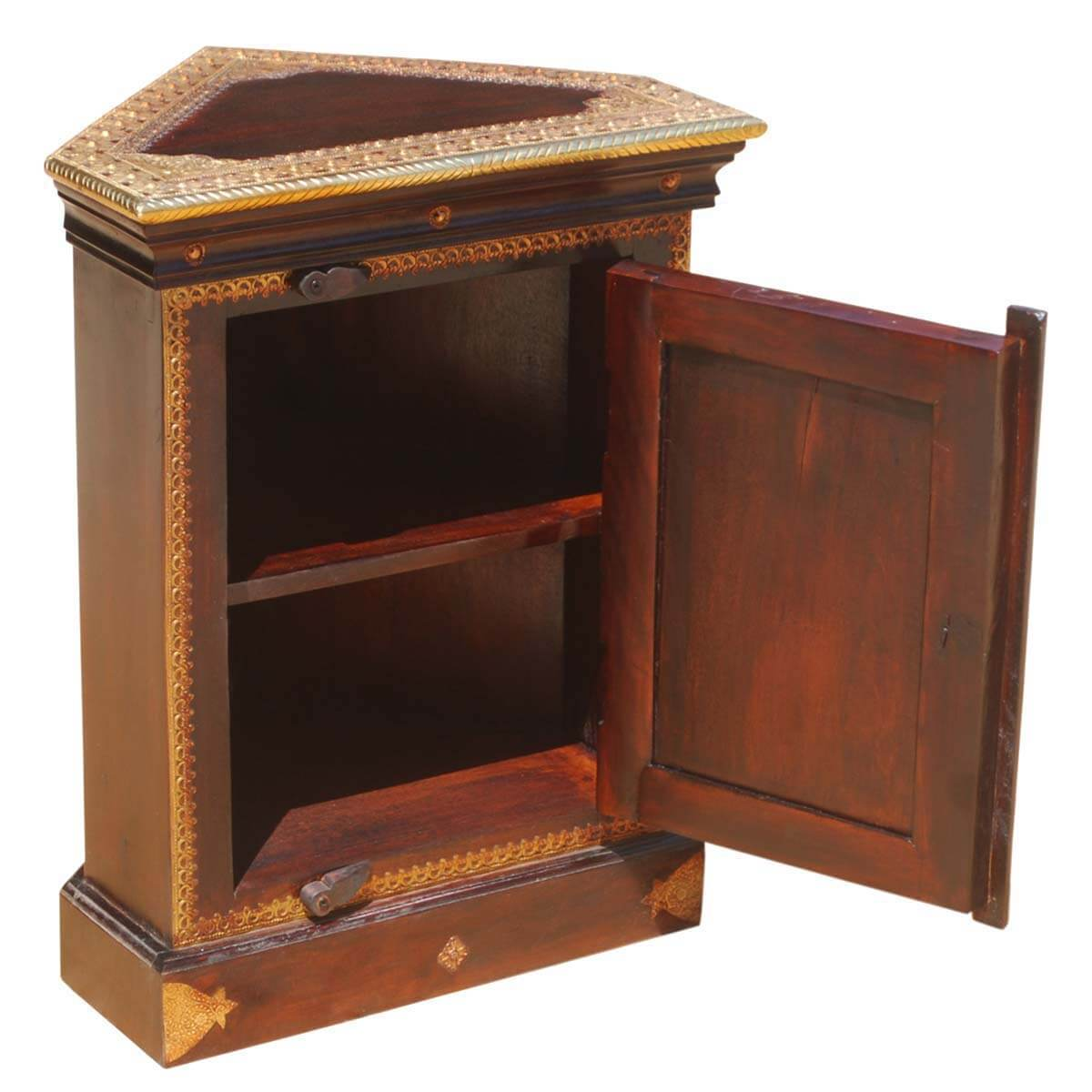 heritage handcrafted brass inlay solid wood corner end table. Black Bedroom Furniture Sets. Home Design Ideas