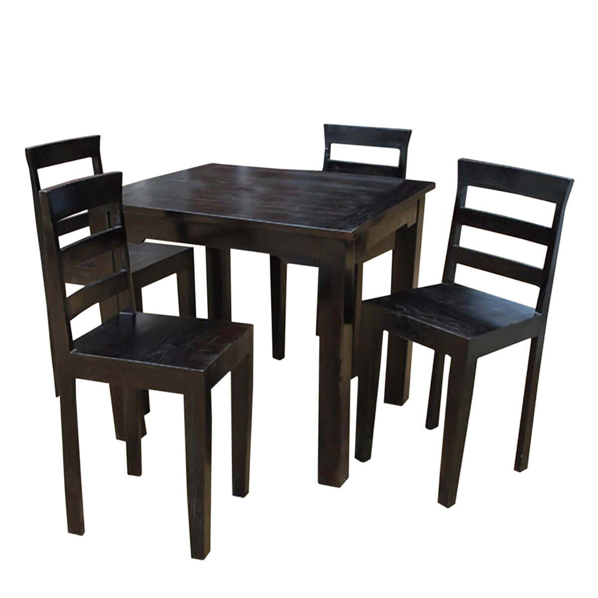 Casual square dining table w ebony finish made of solid wood for Dining table finish