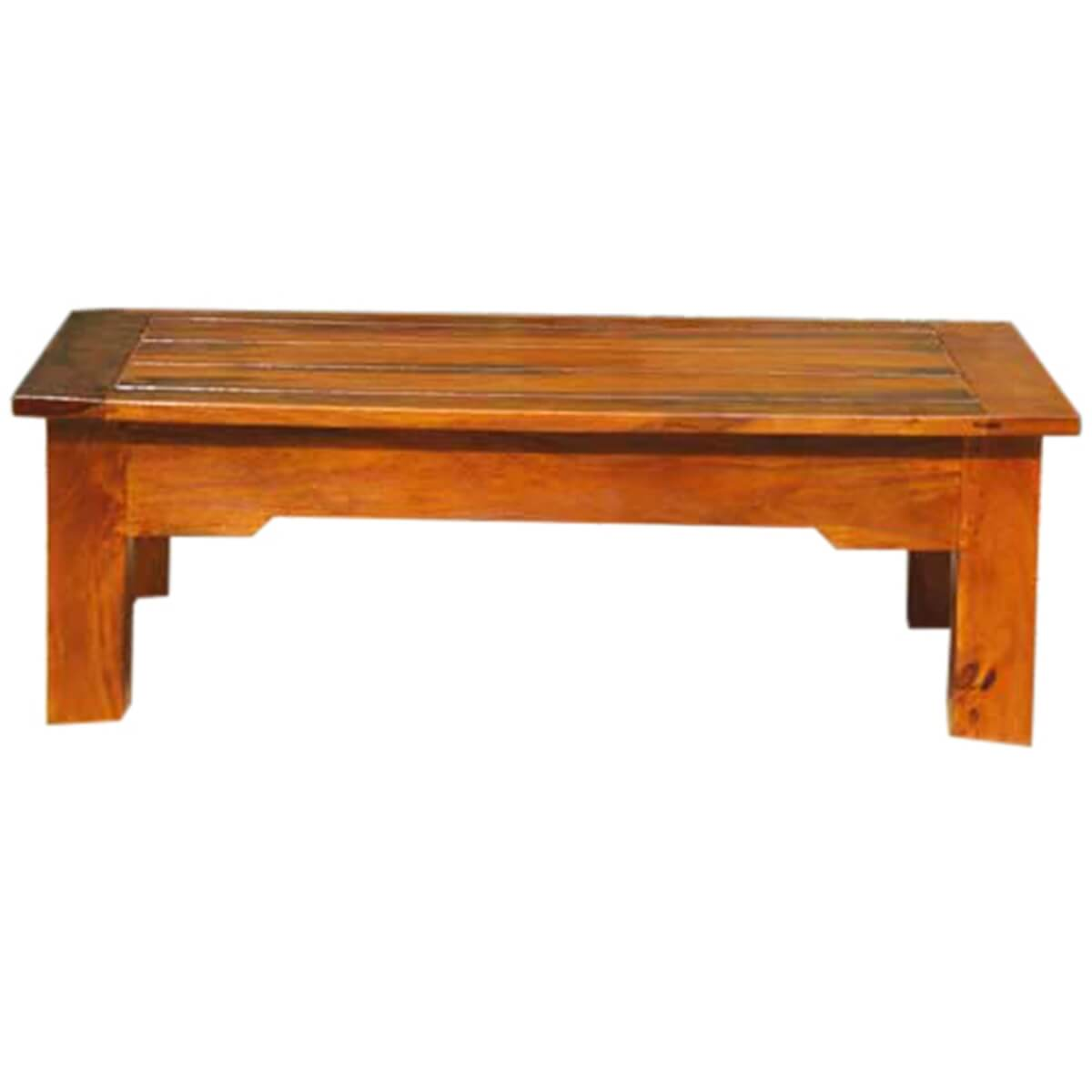 Low height wood mission cocktail coffee table new for Low coffee table wood