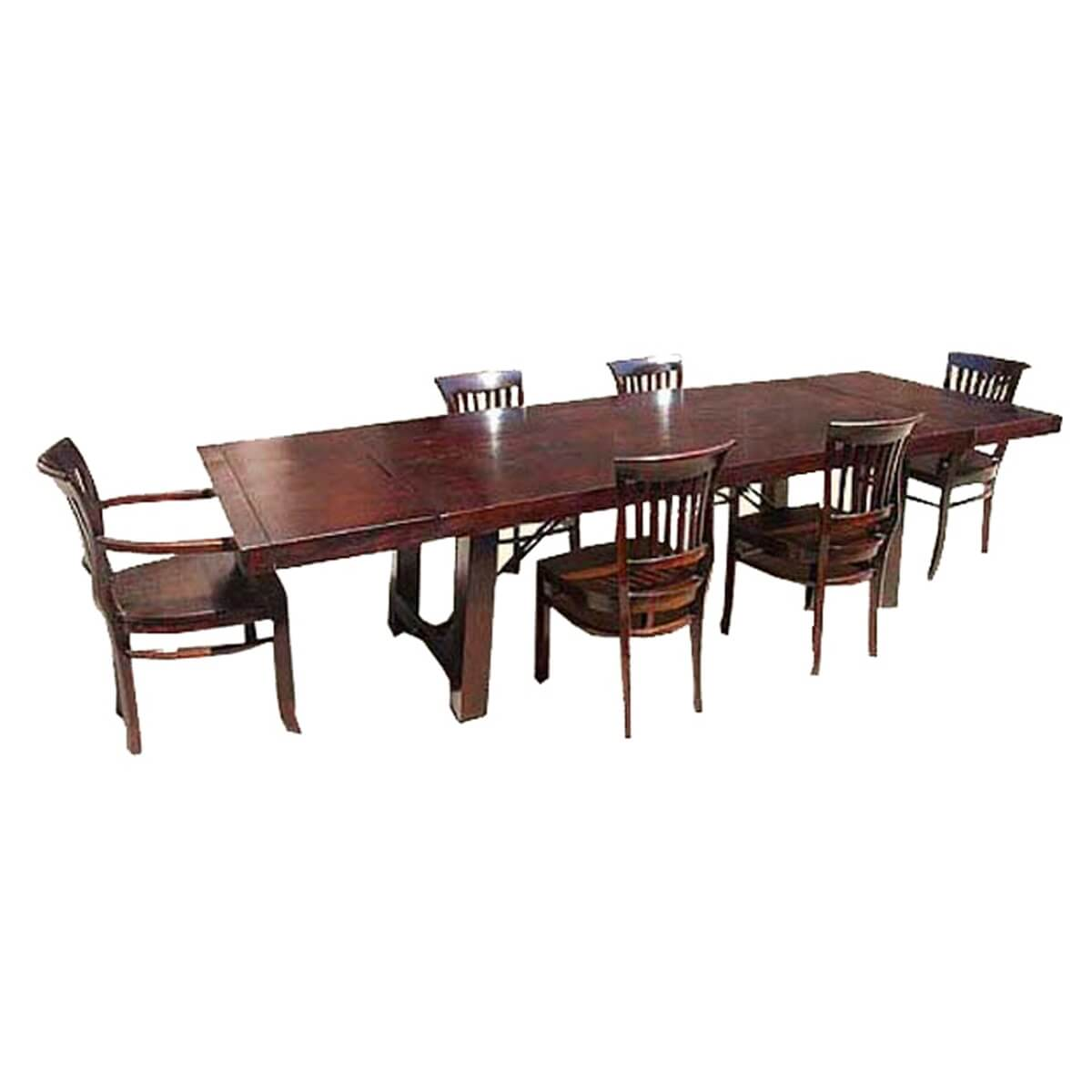 Nottingham Rustic Furniture Wood Dining Table Chair Set W Extension