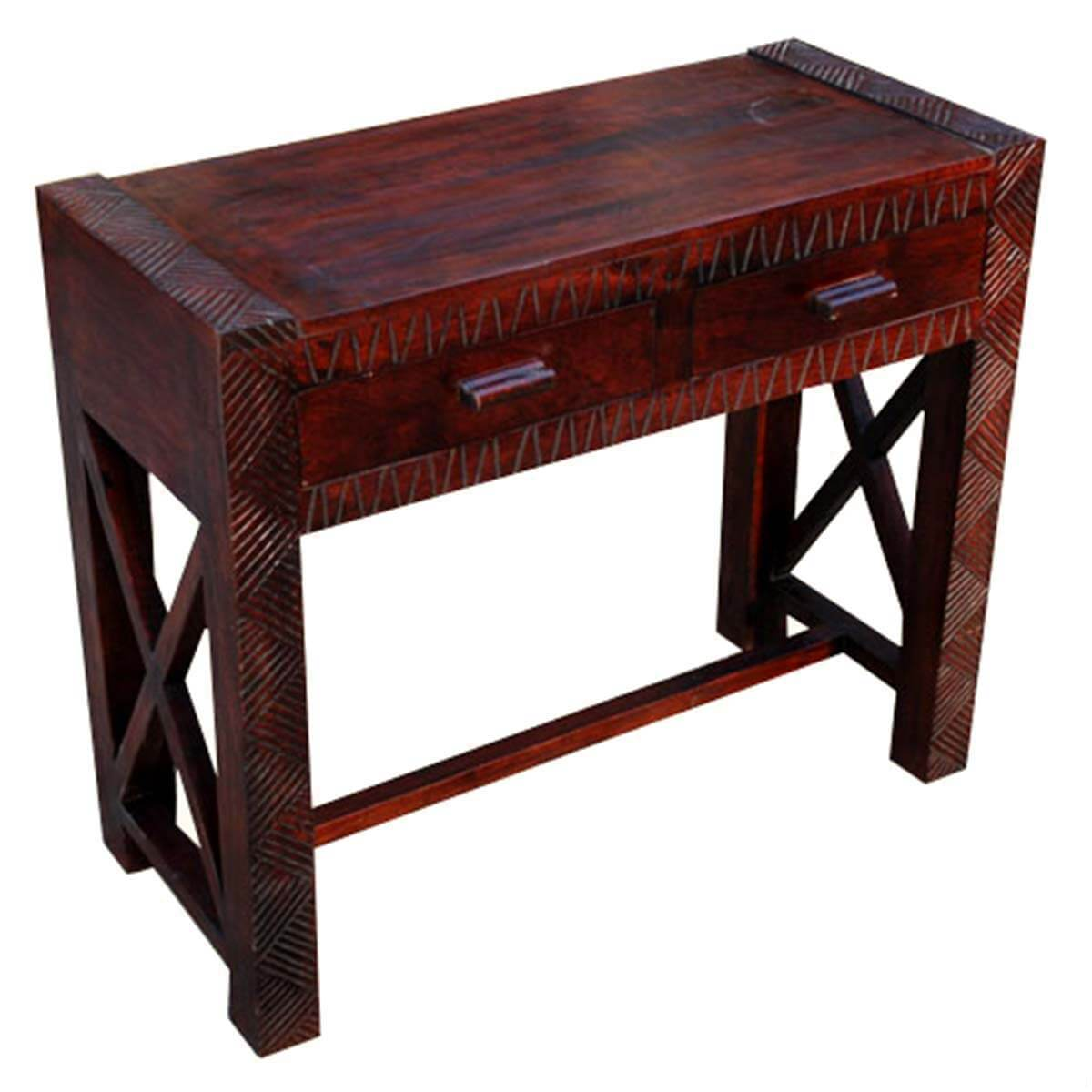 Solid wood entryway hand carved console table
