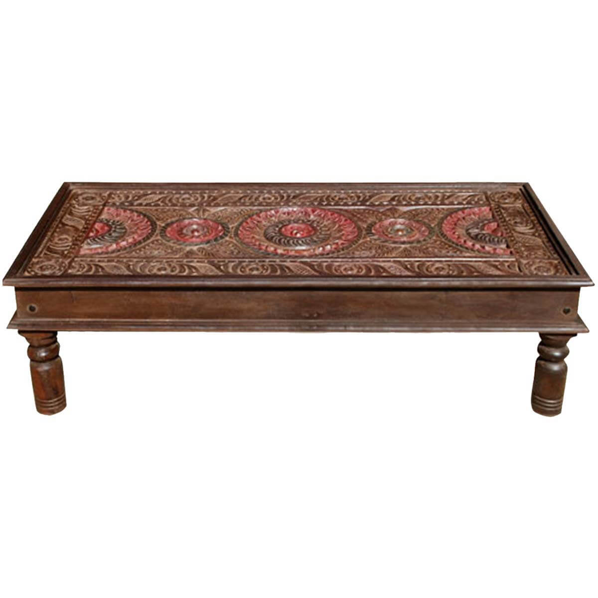 Delhi medallion ornate hand carved coffee table new delhi medallion ornate hand carved coffee table geotapseo Gallery