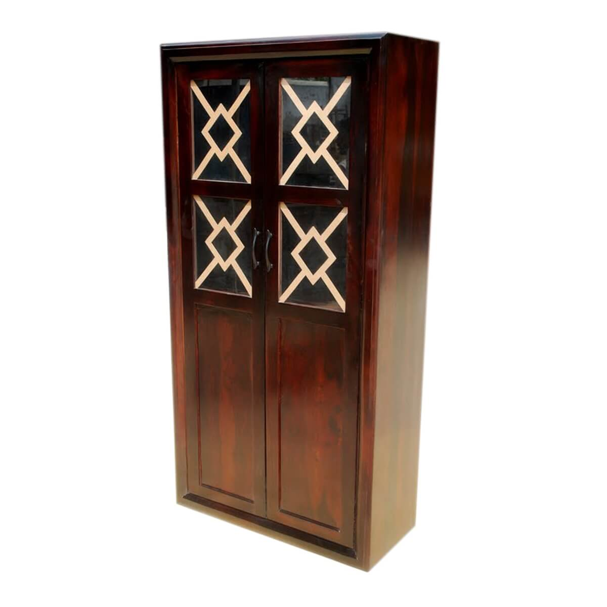 Solid Wood Glass Doors Armoire Wardrobe Furniture