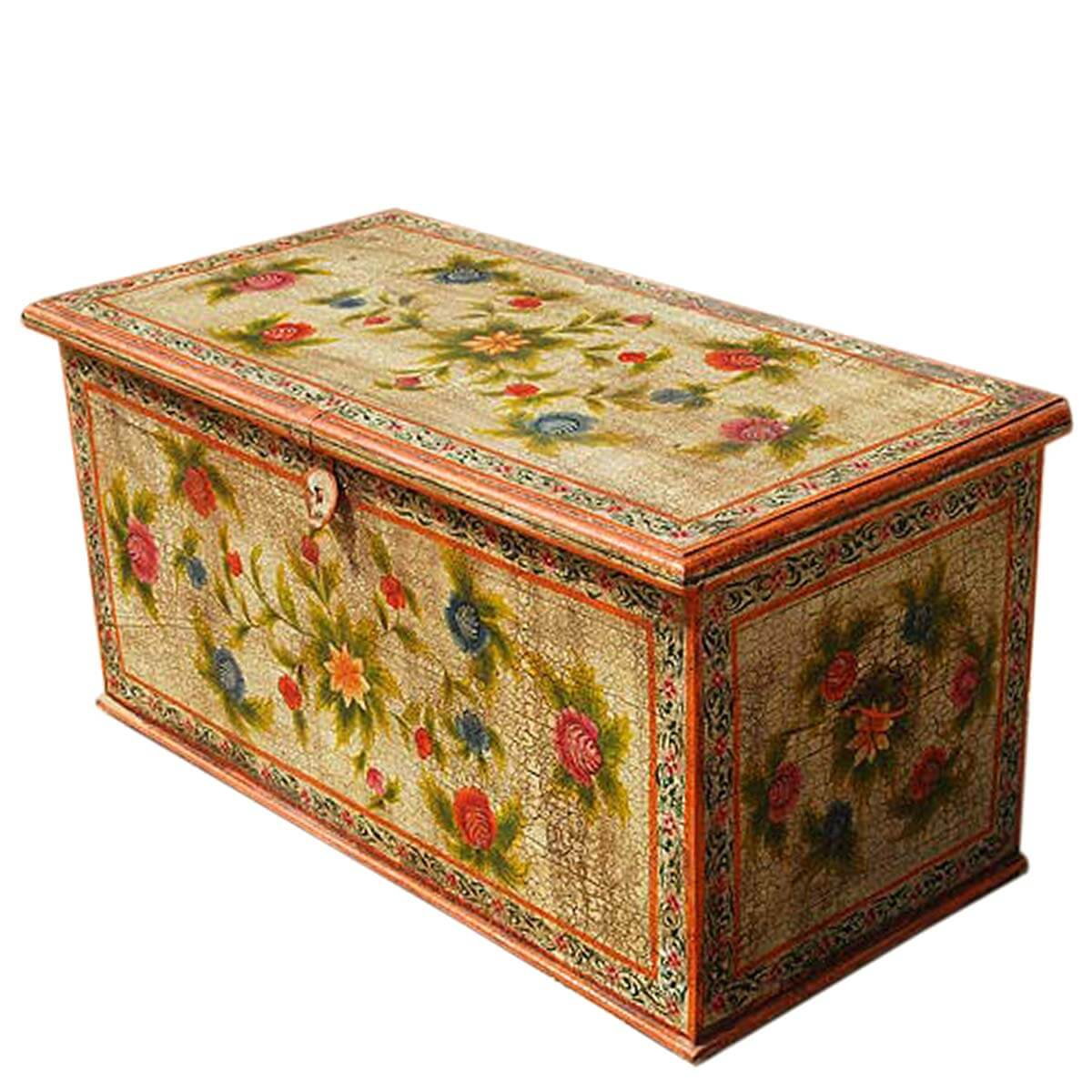 Hardwood hand painted storage trunk coffee table solid hardwood hand painted storage trunk coffee table geotapseo Gallery