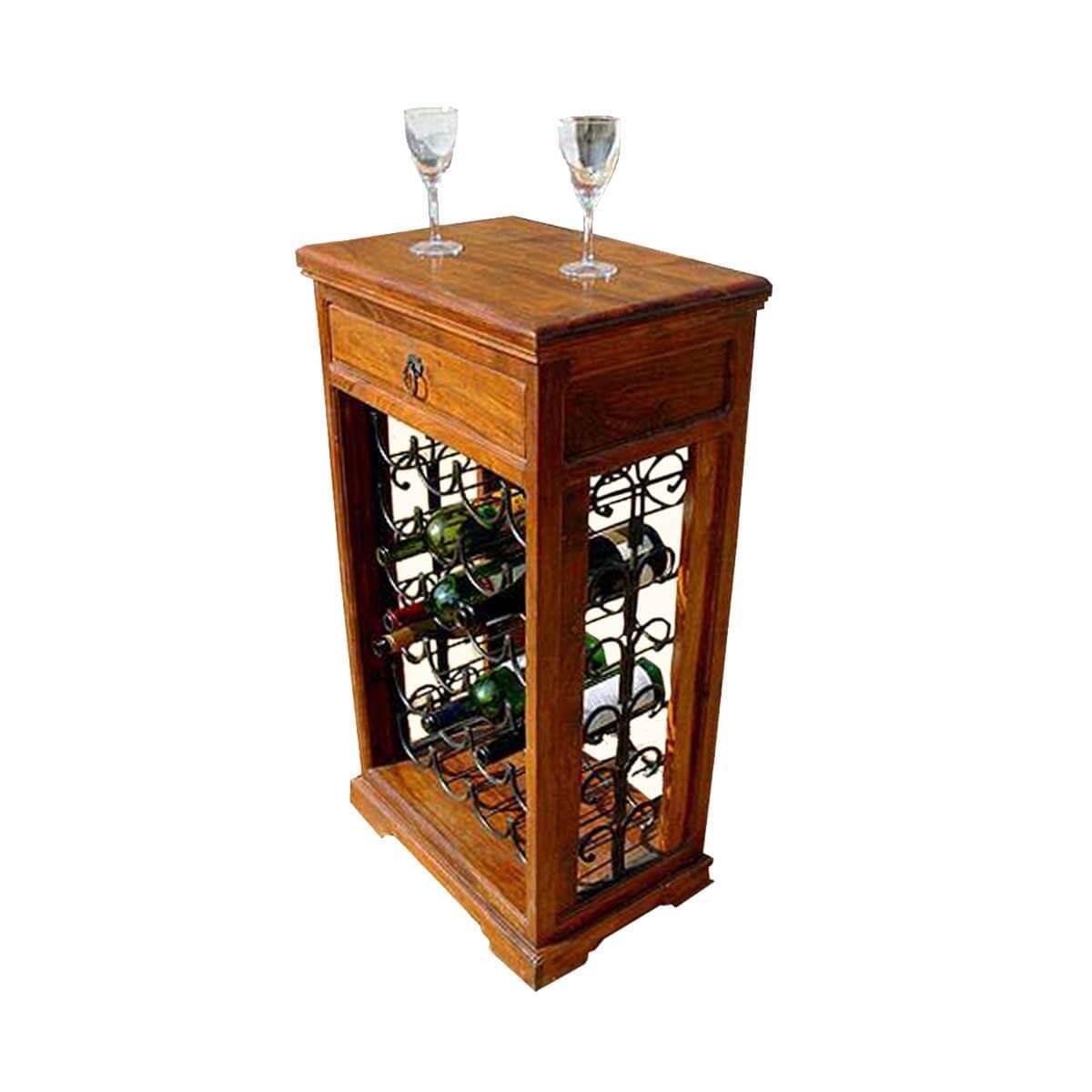 Wine Rack Furniture ~ Eldorado solid wood bottle wrought iron holder wine rack