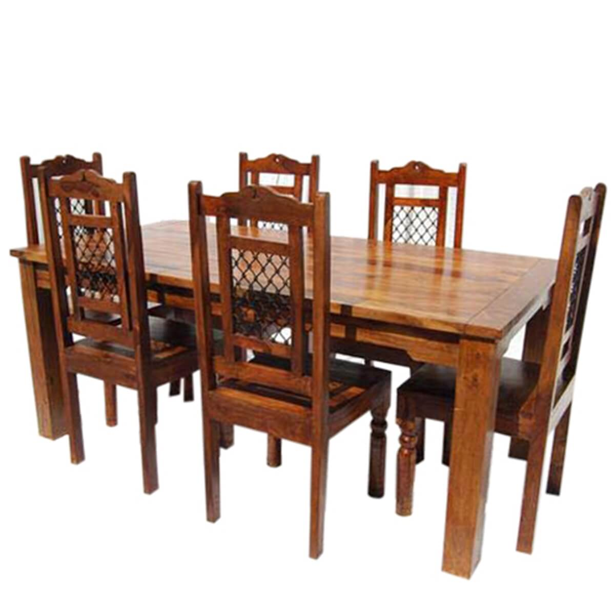 Swiss alps solid wood 7pc farmhouse dining table and chair set for Solid wood dining table sets