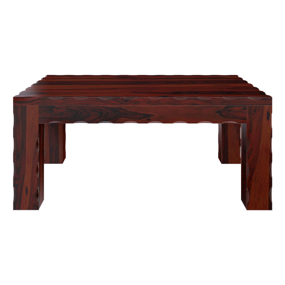 Solid Wood Block Coffee Table: Amery Unique Handcrafted Block Legs Solid Wood Coffee Table